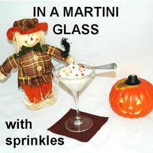 Load image into Gallery viewer, White Chocolate Amaretto Mousse in martini glass, garnished with multi colored sprinkles Fall