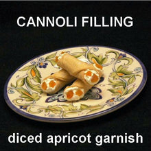 Load image into Gallery viewer, Cannoli filled with White Chocolate Amaretto Mousse, garnished with apricot pieces Summer