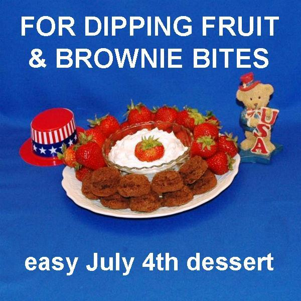 White Chocolate Amaretto Mousse with fresh strawberries and brownie bites for dipping, July 4th dessert