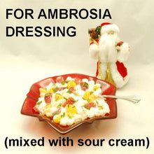 Load image into Gallery viewer, Ambrosia with Mandarin orange slices, strawberries, coconut, marshmallows and White Chocolate Banana Sour Cream Dressing Christmas