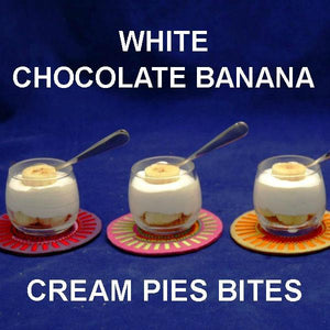 Tasting size White Chocolate Banana Cream Pie Bites, garnished with banana slices