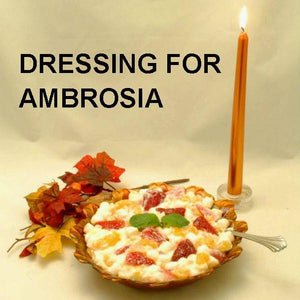 Ambrosia fruit salad with White Chocolate Banana Sour Cream Dressing Thanksgiving side dish
