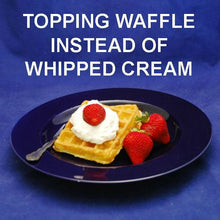 Load image into Gallery viewer, Breakfast waffle with White Chocolate Banana Mousse, garnished with fresh strawberries