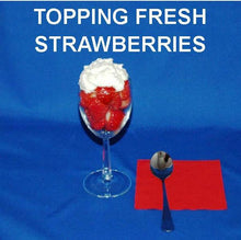 Load image into Gallery viewer, Fresh strawberries topped with White Chocolate Banana Mousse, in a wine glass