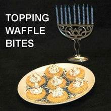Load image into Gallery viewer, White Chocolate Banana Mousse toping warm waffle bites Hanukkah