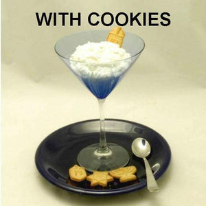 White Chocolate Banana Mousse in martini glass with Hanukkah cookies