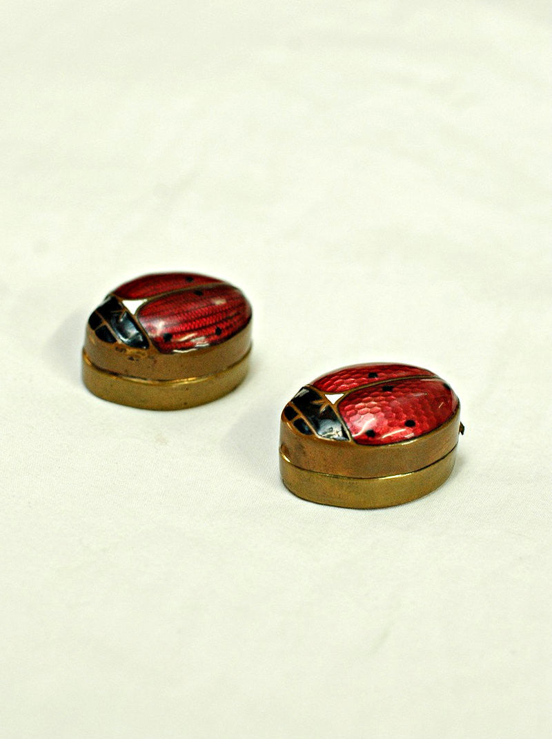 A Pair of Enameled Ladybird Trinket Boxes