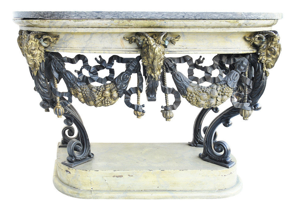 A Pair of 19th Century French Painted Cast Iron Marble Top Consoles.