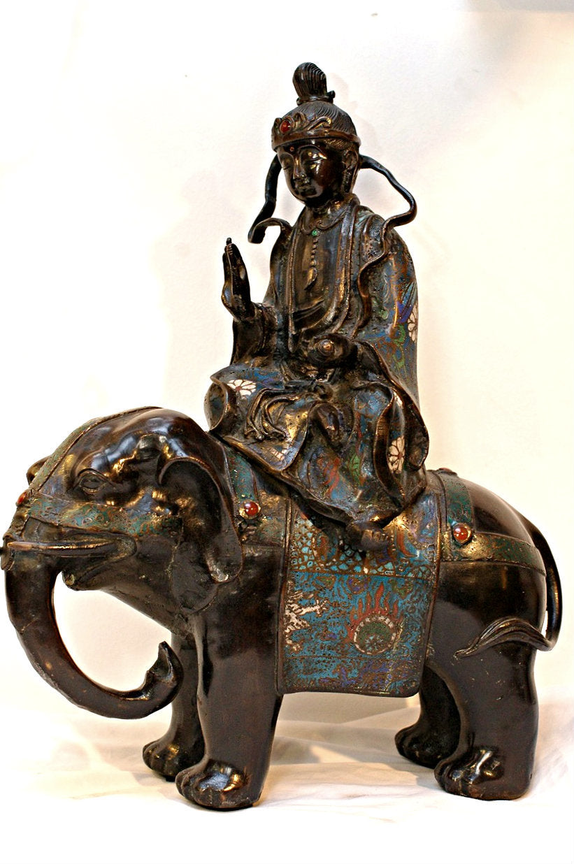 An Antique Chinese Bronze and Cloisonne Group of Guanyin Seated on Elephant, Qing Dynasty (1644-1911), Chia Ching (r. 1796-1820)