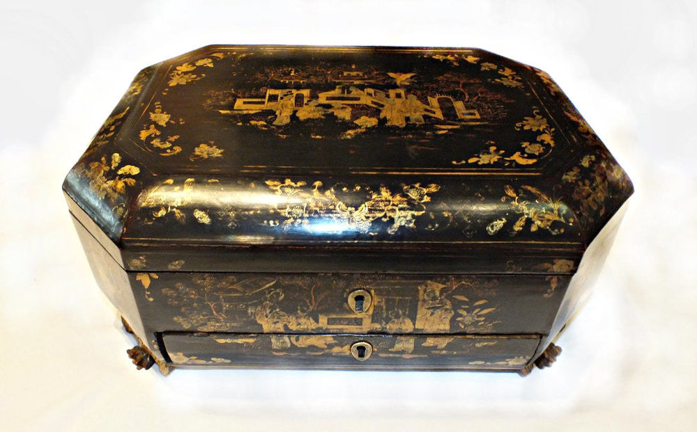 A Chinese Export Black and Gilt Lacquer Sewing Box