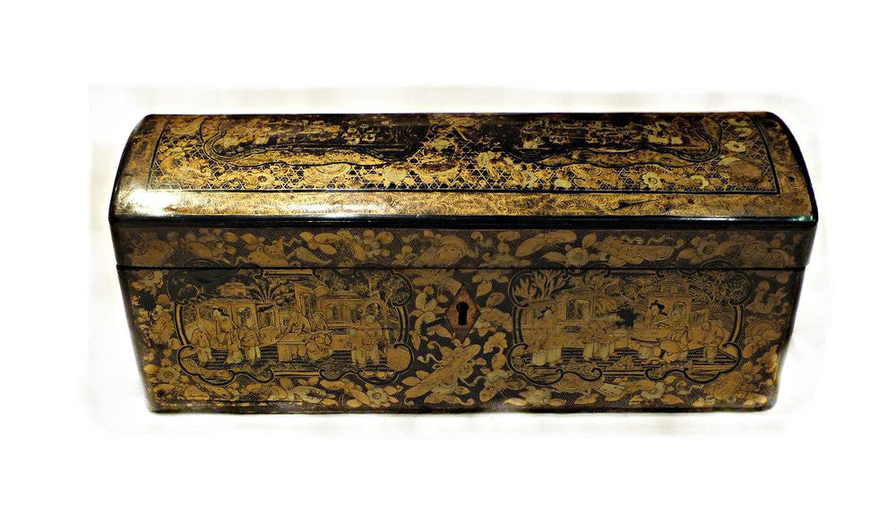 A Chinoiserie Rectangular Chest Shaped Box with Dome Lid