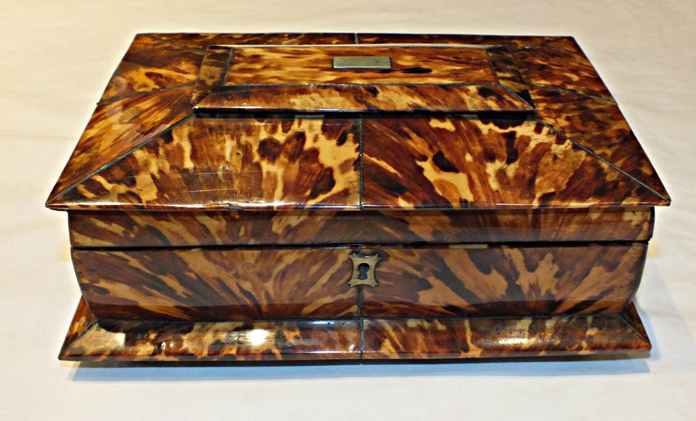 An Early 19th Century Tortoiseshell  Sewing Box