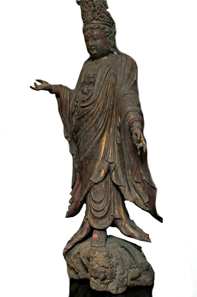 A Chinese Carved Wood Figure of a Standing Bodhisattva, Ming Dynasty (1368-1644)