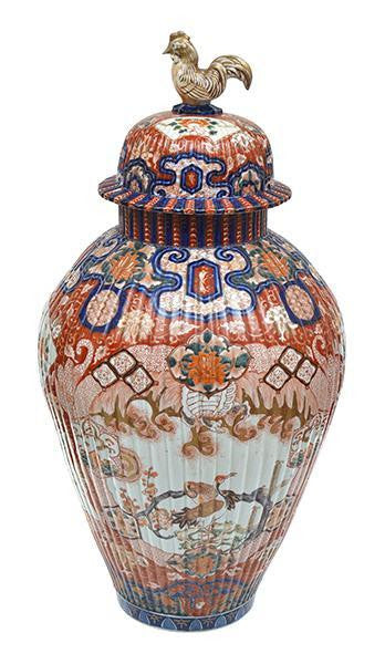 A Large Late 19th Century Japanese Imari Vase and Cover