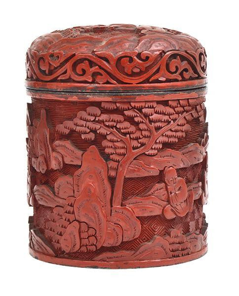 A Chinese Cinnabar Carved Cylindrical Box