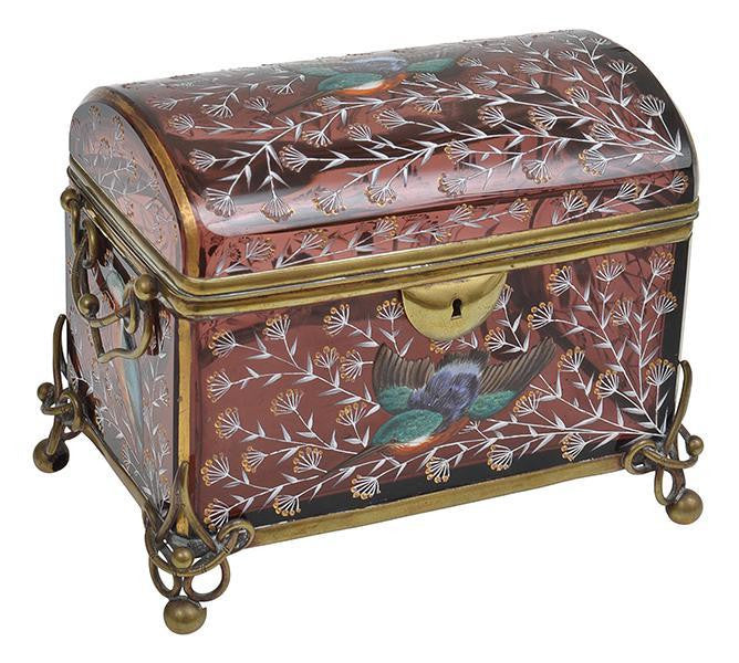 A Moser Bohemian Ruby Glass Jewellery Casket