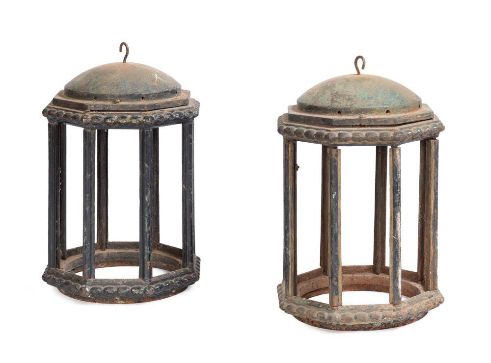 A Pair of 19th Century English Cast Iron Hanging Lanterns