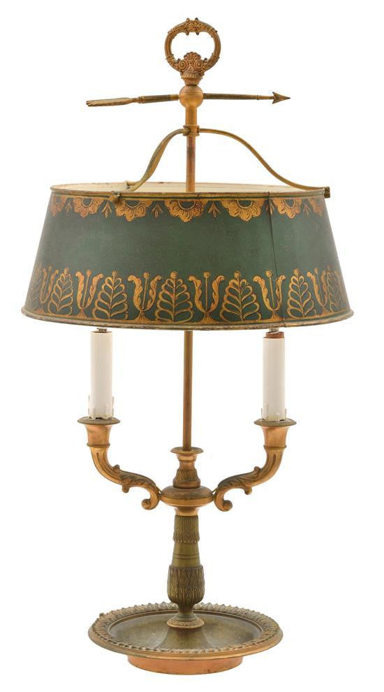 An Antique French Empire Bouillotte Two Branch Lamp