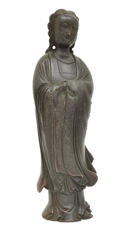 A Chinese bronze White Robed Guanyin
