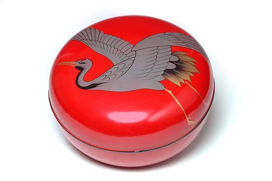 A Japanese Red Lacquered Covered Circular Box