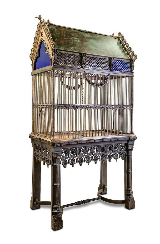 An Early Victorian Gothic Birdcage on Stand