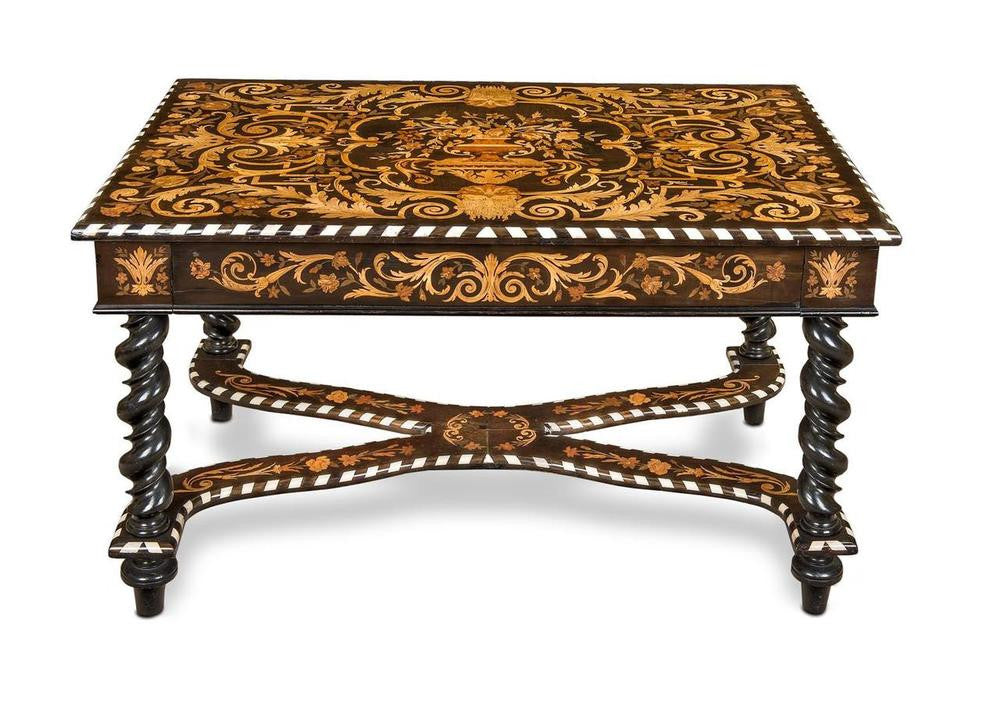 An Important Flemish Ebony and Marquetry Library Table