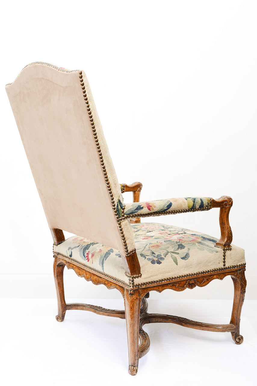 A Pair of Louis XV Walnut Framed Armchairs
