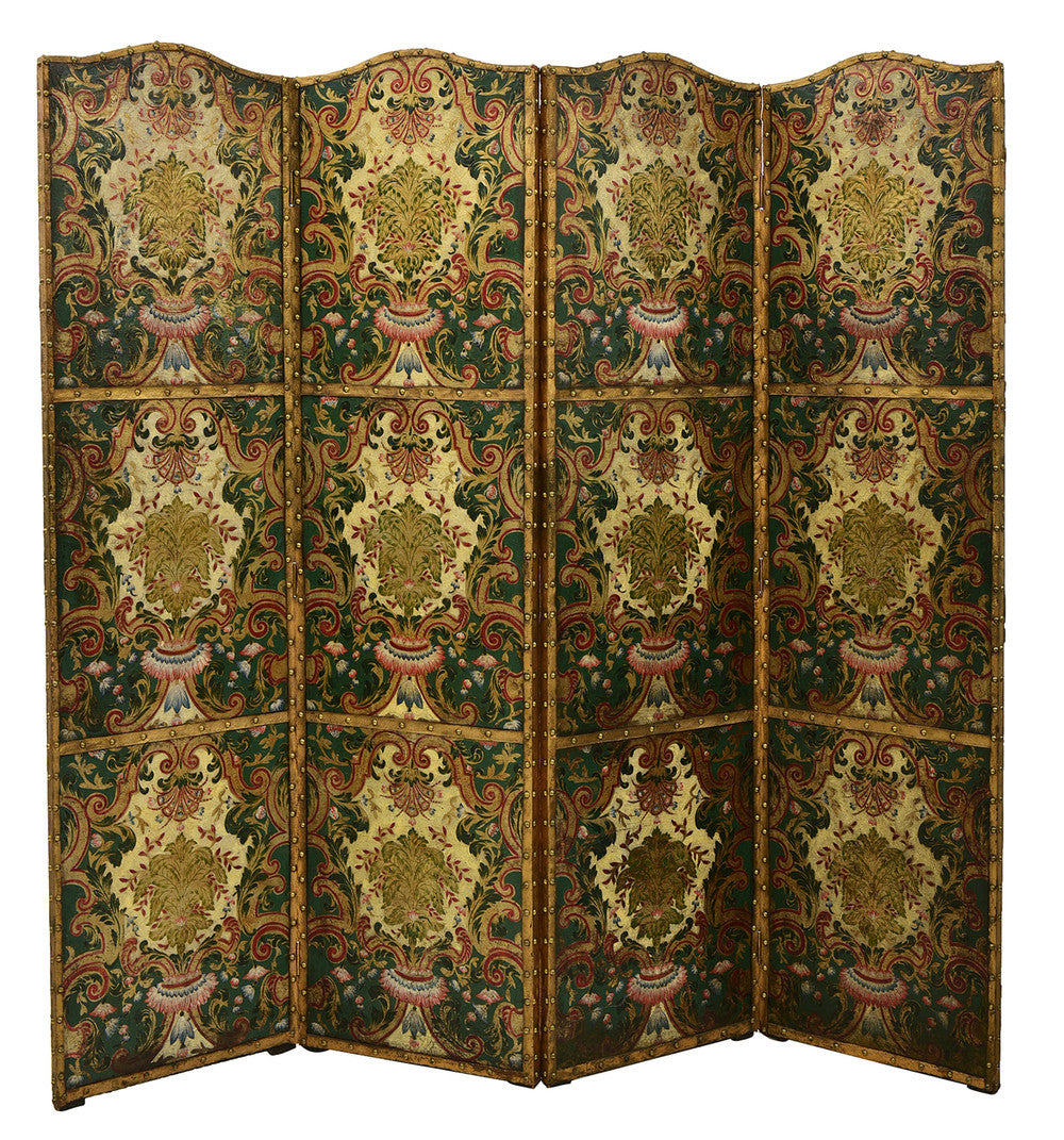 An 18th Century French Leather Bound & Painted Four Fold Screen