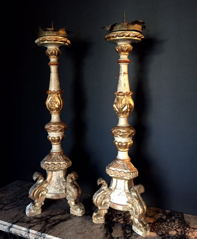 Two Pairs of Spanish Baroque Style White Painted and Parcel Gilt Torcheres
