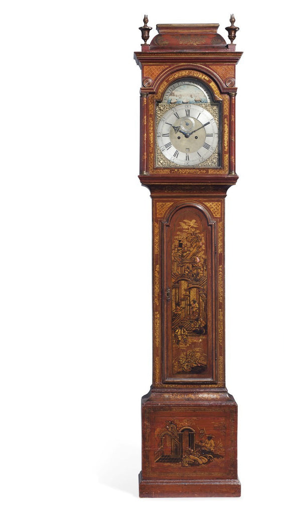 A George II Scarlet and Gilt-Japanned Tall Case Clock