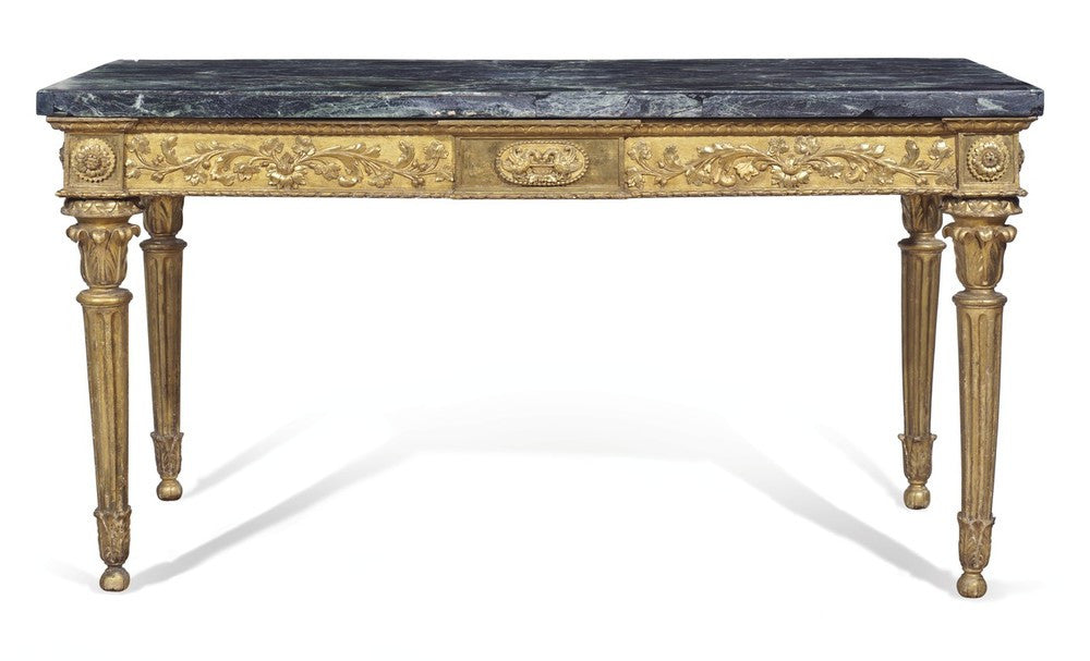 A Magnificent Pair of Late 18th Century Italian  Giltwood and Marble Console Tables