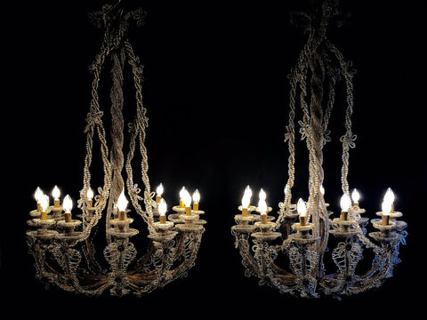 A Rare Pair of North Italian Beaded Chandeliers