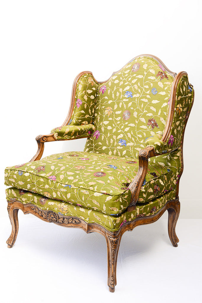 A Louis XV Style Walnut Framed Armchair