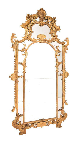 An 18th Century French Gilt-wood and finely carved mirror.