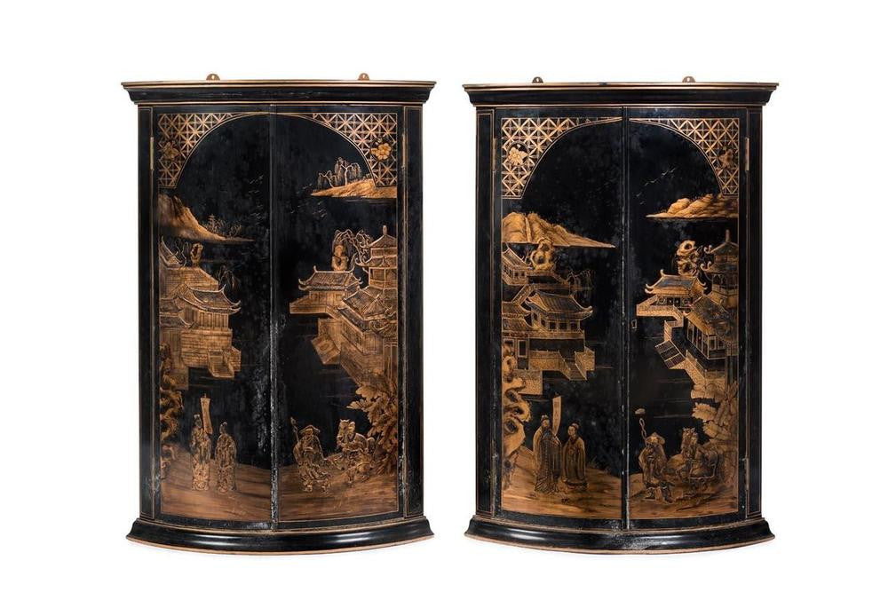 A Pair of Antique Chinoiserie Black Lacquer & Gilt Corner Cabinets, Late 19th Early 20th Century