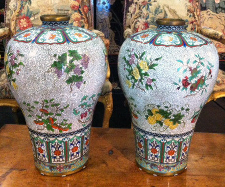 A Pair of 19th Century Meiping Cloisonne Flower and Fruit Vases