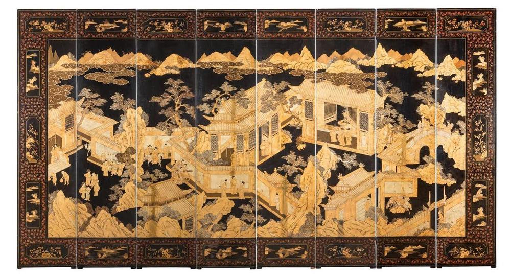 A Qing Dynasty Chinese Eight Panel Screen