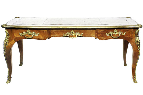 A Late 19th Century Louis XV Style Gilt Metal Mounted Kingwood Bureau Plat