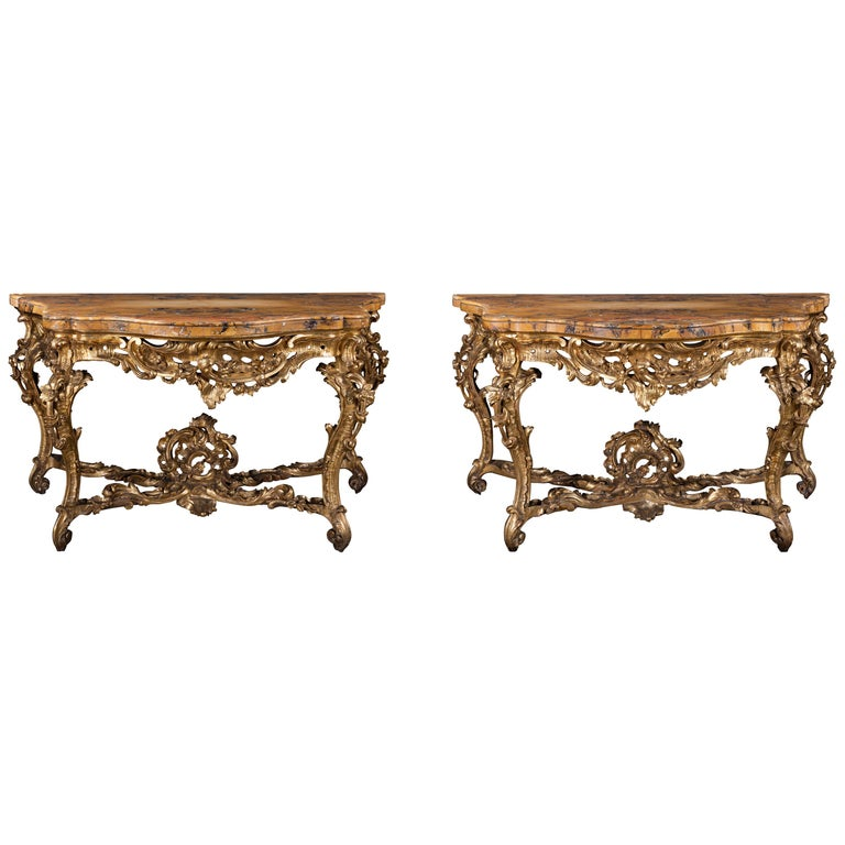 A Pair of Late 18th Century Siena Marble and Giltwood Consoles