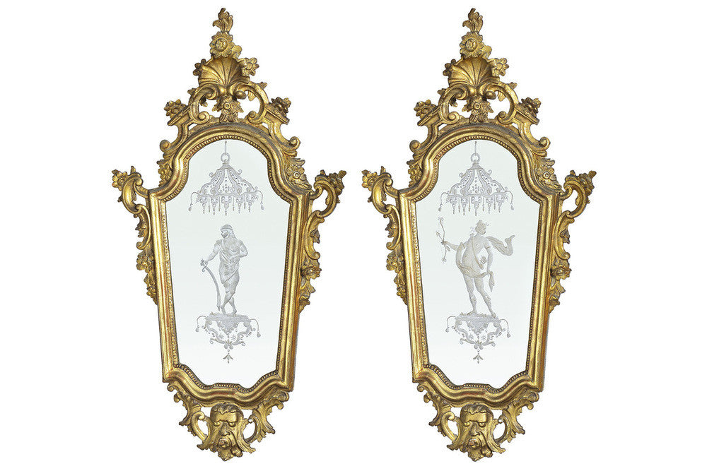A Pair of 19th Century French Gilt Wood Wall Mirrors