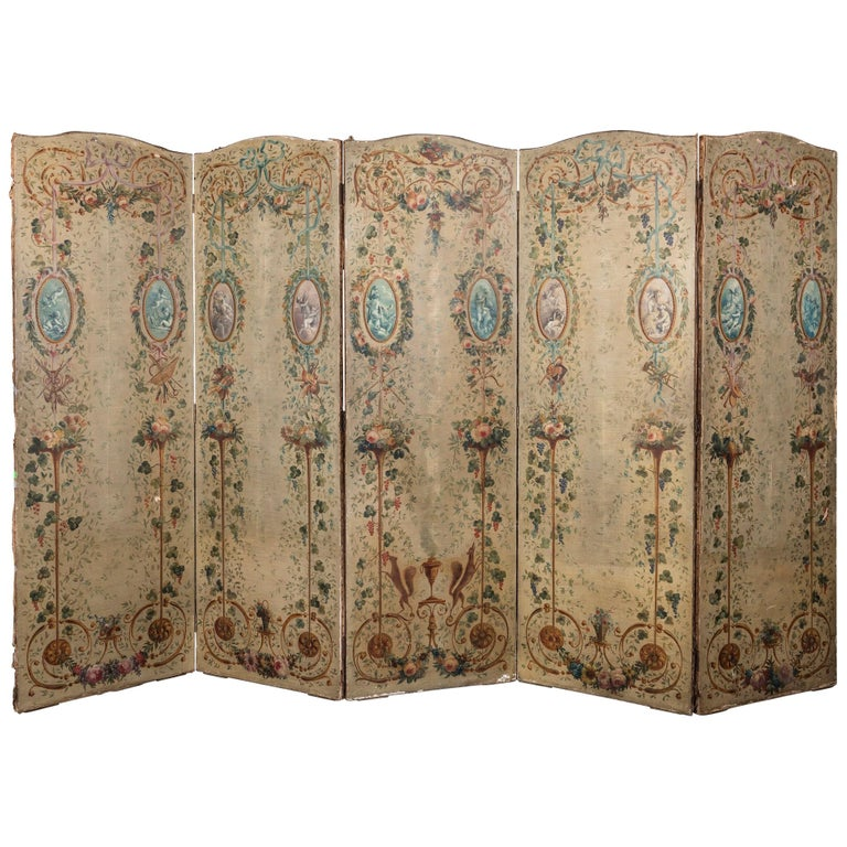 A 19th Century French Hand Painted Canvas Five Panelled Screen