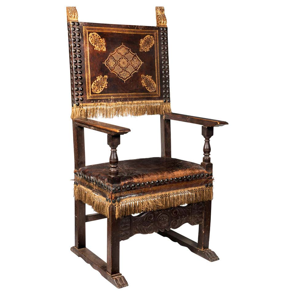 An 18th Century Italian Walnut Leather Upholstered and Studded Cardinals Chair