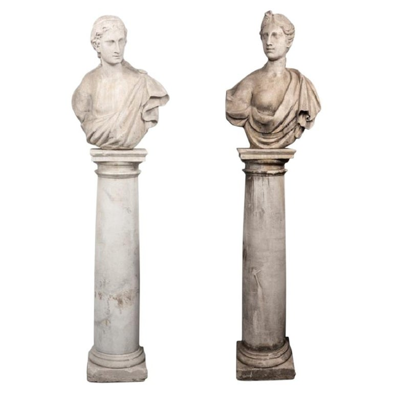 Pair of 19th Century Female Busts on Columnar Plinths