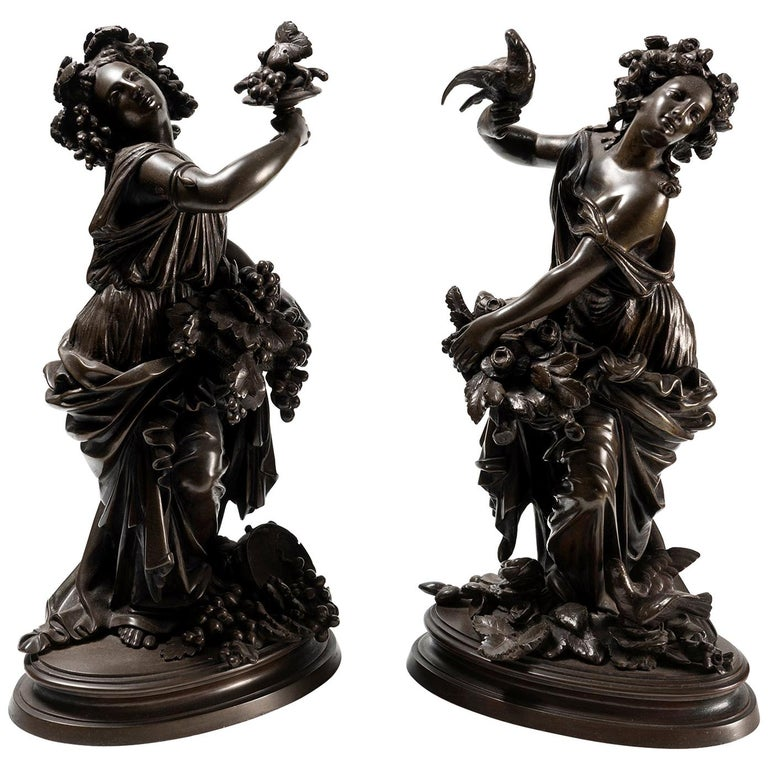 A Pair of Late 19th Century French Bronze Allegorical Figures of Autumn & Spring