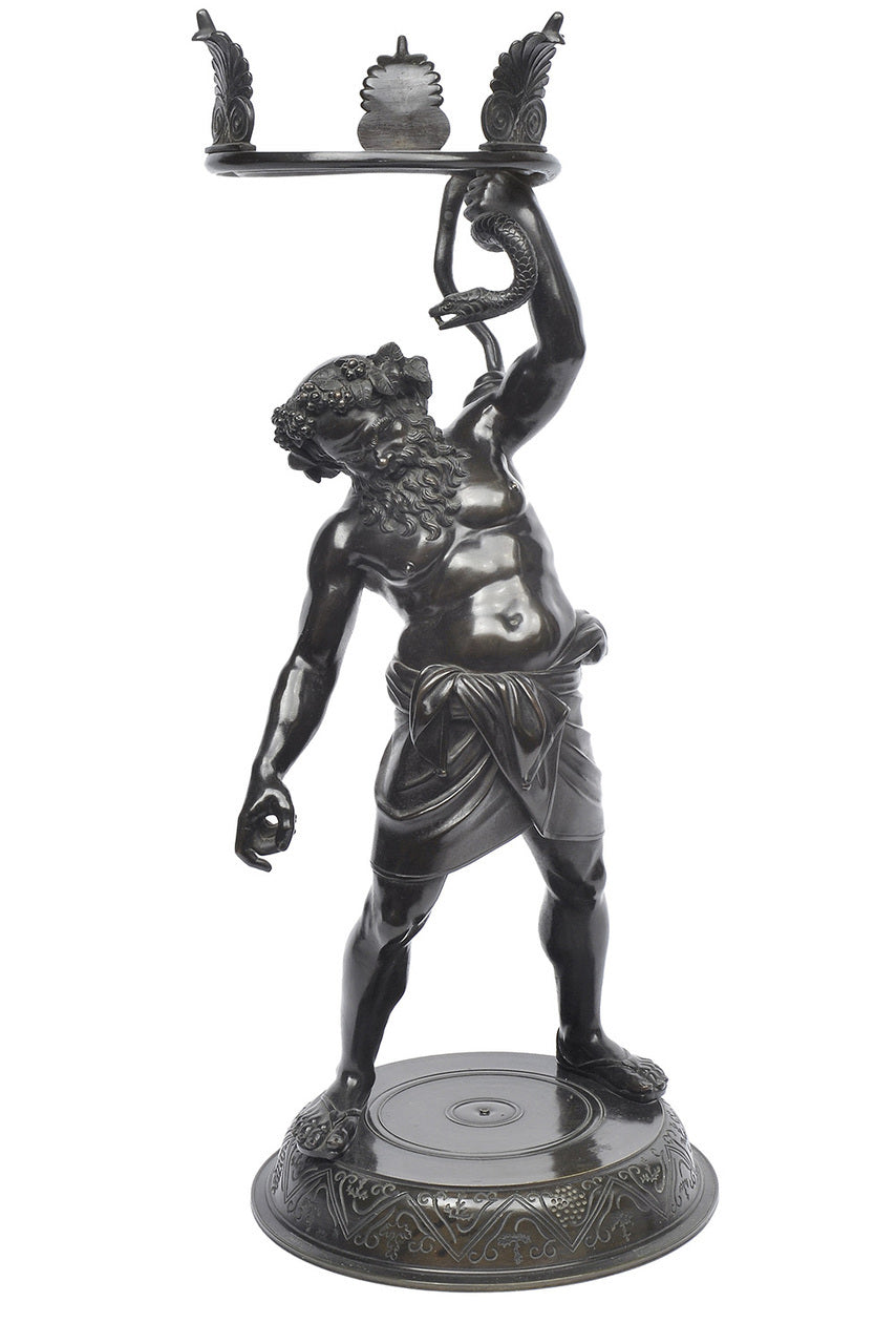 A Bronze Mythological Figural Vase Base