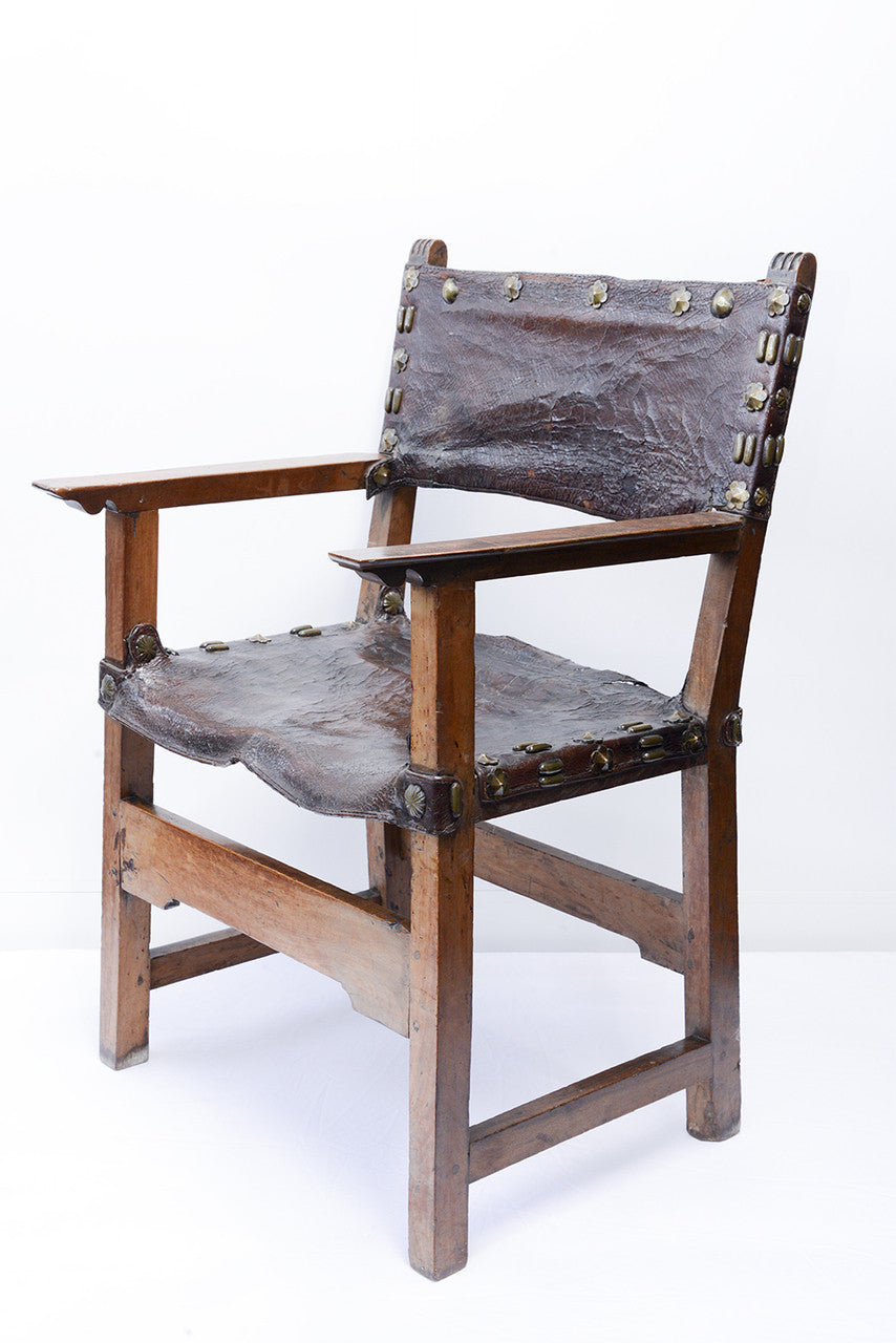 A Walnut and Leather Bound Spanish Chair, 17th Century