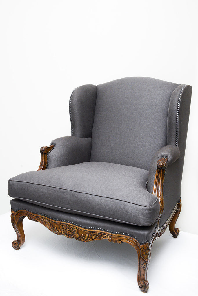 A Pair of Louis XV Style Wingback Armchair