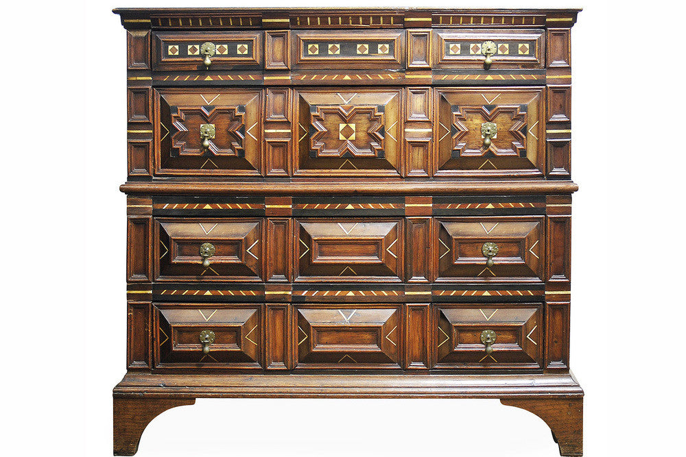 A 17th Century Charles II Oak and Marquetry Chest of Drawers
