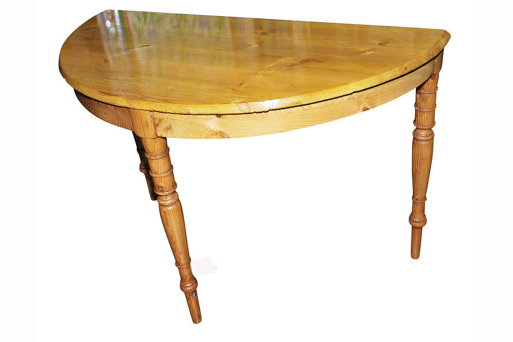 A Pair of Pine Demi Lune Side Tables