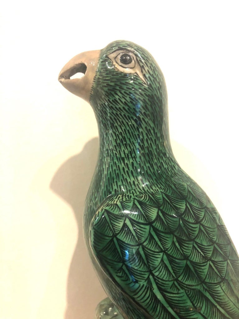 A Pair of 19th Century Chinese Export Glazed Parrots